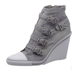 Womens Buckle Strap Wedge Heel Sneakers Boots 2016 Fashion High Top Denim Canvas | Clothing, Shoes & Accessories, Women's Shoes, Athletic | eBay!