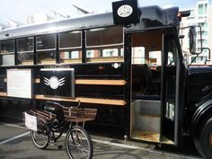 food truck. Could have fold down tables or tables that slide onto outside bars for transport