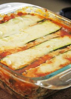 Zucchini Lasagna - great for the summer abundance - can also substitute other summer squash No noodles = no gluten No meat = less calories Can cook w/ or w/out other veggies.  I don't use cottage cheese - only mozzerella & parmesan - great for picky kids and husbands.