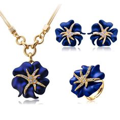 Cheap designer jewelry set, Buy Quality fashion jewelry set directly from China jewelry sets Suppliers: Elegant Luxury Design Fashion Jewelry Set With Earrings and Necklace and Ring Gold-Color Red and Blue Rhinestone jewelry Gypsy Jewelry, Cute Jewelry, Jewelry Accessories, Jewelry Design, Flower Jewelry, Bridesmaid Jewelry Sets, Bridal Jewelry Sets, Fashion Necklace, Fashion Jewelry