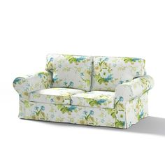 Dekoria Fire Retarding Ikea Ektorp 2-seater sofa bed cover (for model on sale in Ikea 2004-2012) - blue and beige flowers on white background