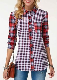 wholesale Button Up Turndown Collar Plaid Print Shirt Formal Blouses, Red Blouses, Shirt Blouses, Trendy Tops For Women, Blouses For Women, T Shirts For Women, Terno Casual, Plaid Outfits, Look Cool