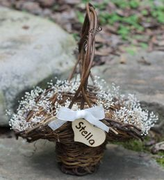 Flower Girl Basket Rustic Personalized Heart Lined In Baby's Breath, Christmas Basket, Custom Color Ribbon For Cottage, Rustic Wedding. $38.50, via Etsy.