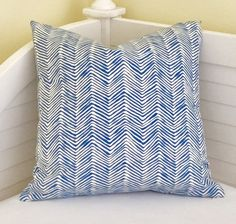 Quadrille China Seas PETITE Zig Zag in Pacific Blue Designer Pillow Cover  - Square, Lumbar and Euro Sizes by SewSusieDesigns on Etsy