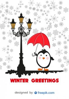 Winter Greeting Card Cartoon penguin with Red Umbrella free vector