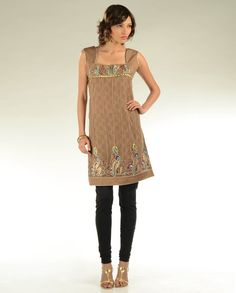 Light Brown Net Tunic with Embroidery
