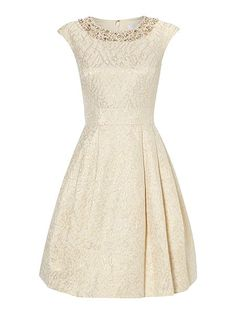 Fifties style jacquard dress with cap sleeves