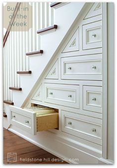 A series with great built-in inspiration. Great ideas for smaller homes, new construction, or your dream file. via interior designer @FieldstoneHill Design, Darlene Weir Design, Darlene Weir Design, Darlene Weir #storage #stairs #builtins