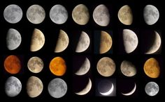 A collage of moon photos that photographer David Blanchflower took between March and October 2014 from Newcastle upon Tyne, United Kingdom, using a Nikon Coolpix L810 camera. One picture used a telescope (Skywatcher Explorer 200P).
