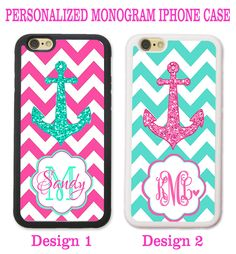 MINT HOT PINK CHEVRON ANCHOR PERSONALIZED MONOGRAM CASE FOR IPHONE 7 6S 6 SE 5S #UnbrandedGeneric