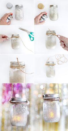 DIY New Year's Eve Mason Jar Lantern | Glittered Mason Jar by @ispydiy
