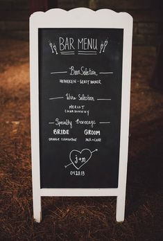 rustic chalkboard menu // photo by Ariel Renae // View more: http://ruffledblog.com/multicultural-nashville-wedding/