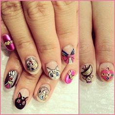 my 2 favorite anime shows in college were sailor moon and fushigi yugi. Here is the awesome nails for sailor moon fans. Look at gorgeous Luna and Artemis. Uñas Sailor Moon, Sailor Moon Nails, Love Nails, How To Do Nails, Kawaii Nail Art, Anime Nails, Nail Pops, Happy Nails, Nails On Fleek