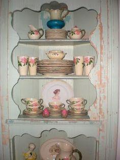cute corner cabinet, awesome vintage Franciscan desert rose china