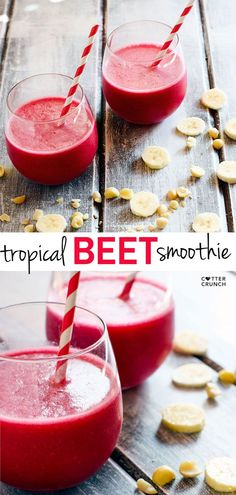 Tropical Beet Smoothie with Mac Nuts! It's healthy, creamy, delicious, and fruity. Our favorite Endurance Boosting drink full of vitamins, minerals, antioxidants, and healthy fats. Perfect drink for summer too! @cottercrunch