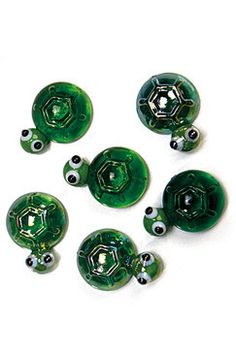 """Glass Accents""-Green Turtles Collection-Only $6.99 for a 5 piece set INCLUDING FREE SHIPPING via the USPS"