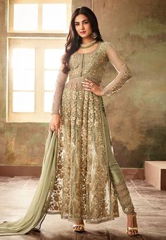 Pista Green Net Wedding Wear Pant Style Suit Aafreen 6704 By Maisha Anarkali Dress, Anarkali Suits, Caftan Dress, Eid Dresses, Dresses Online, Pakistani Dresses, Churidar, Salwar Kameez, Sharara