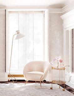 Un salon rose pale et or