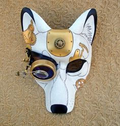 """Her lilac-colored acrylic goggle-monocle eye is fitted with a single 10X magnification loop of my own design, so she actually CAN """"see you better"""". What big eyes you have..."""
