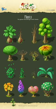 Plants: In game buildings and items on Behance