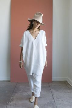 Rachel Craven Textiles - Short V Neck Caftan, Dusk Linen | S U N C H I L D