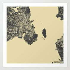Copenhage Map Art Print by Map Map Maps - $18.00---------------------------If you like my work, you can folllow my Facebook account : https://www.facebook.com/MapMapMaps