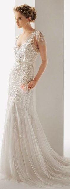 Trendy Wedding Gowns With Sleeves Rosa Clara 30 Ideas Wedding Gowns With Sleeves, One Shoulder Wedding Dress, Trendy Wedding, Wedding Styles, Bridal Dresses, Bridesmaid Dresses, The Bride, Wedding Attire, Dress Wedding