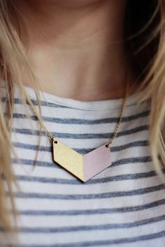 Small Wooden Chevron Necklace (Pink - Gold)  Modern Handmade Jewellery