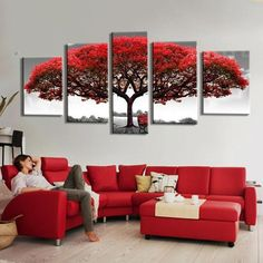 Big Red Tree In The Wild - 5 Piece Canvas Painting - Empire Prints Red Couch Living Room, Red Living Room Decor, Art Deco Living Room, Living Room Decor Inspiration, Red Home Decor, Room Decor Bedroom, Living Room Designs, Office Wall Colors, Red Tree