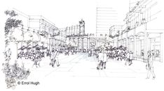 People in plaza sketch