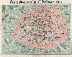 1932 plan of Paris with landmarks