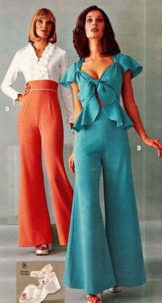 Women's Jumpsuit of the 1970s Decades Fashion, 70s Women Fashion, 70s Inspired Fashion, Seventies Fashion, 60s And 70s Fashion, Fashion History, Retro Fashion, Vintage Fashion, 70s Outfits