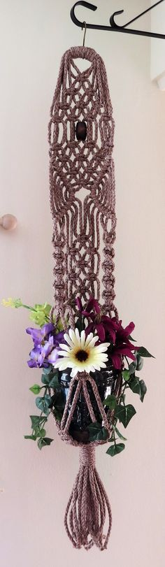 "Macrame plant hanger, POTTERY, 34"", Hanging planter, pot holder, macrame plant…"