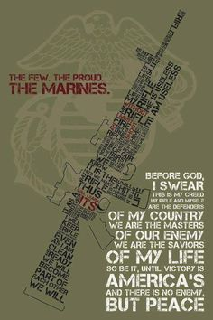 I will become part of United States Marine Corps in 2 or 3 years. * I would have to graduate high school and would have to complete my basic training. I also would have to get in better shape (runining, lifting weights, swimming long distance). Marine Love, Once A Marine, Military Quotes, Military Love, Usmc Quotes, Military Humor, Us Marine Corps, Marine Corps Tattoos, Us Marines