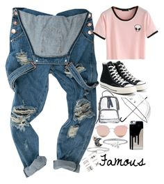 """""""Almost famous"""" by smokey-in-the-stars ❤ liked on Polyvore featuring Converse, Kate Spade, Stephane + Christian, Tommy Hilfiger, Diane Von Furstenberg and Forever 21"""