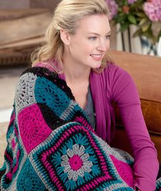 Time to Relax Granny Throw Free Crochet Pattern from Red Heart Yarns