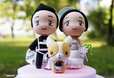 Chibi Wedding Cake Topper with Dog and Parachutes / Wedding Centerpiece by Naboko Studio
