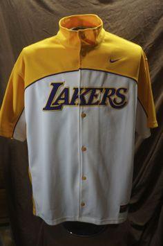 6c5c5c79fbb Vtg LOS ANGELES LAKERS NIKE NBA Sewn Warmup Shooting Jersey Shirt xL