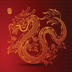 Chinese golden dragon Premium Vector - Tattoo Thinks Golden Dragon Tattoo, Dragon Tattoo For Women, Dragon Tattoo Designs, Chinese Dragon Symbol, Chinese Dragon Tattoos, Chinese Dragon Drawing, Dragon Line, Dragon Art, Japanese Tattoo Art