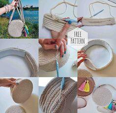 master class on knitting, bag with your hands .- мастер класс по вязанию, сумка своими рукам… master class on knitting, bag do it yourself, beach bag - Bag Patterns To Sew, Sewing Patterns, Crochet Patterns, Sewing Ideas, Crochet Handbags, Crochet Purses, Crochet Bags, Hemp Yarn, Crochet Circles