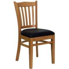 Slat Back Chairs - Set of 2, Natural with Black Vinyl Seat, Beige