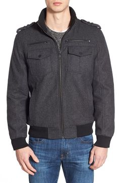 Black Rivet Wool Blend Bomber Jacket available at #Nordstrom