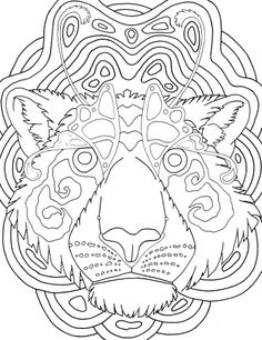 tiger face mandala coloring page for adults