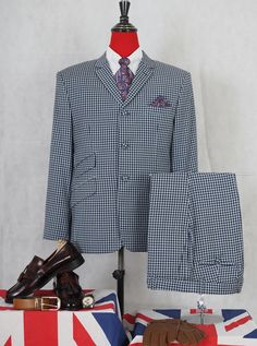 Mohair Suit, Mod Suits, Navy Blue Suit, Order T Shirts, Best Friend Shirts, Tailored Suits, Gingham Check, Personalized T Shirts, Casual Elegance