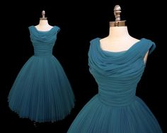 SOLD Vintage 1950s Teal Blue Chiffon by CalendarGirlVintage