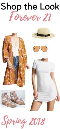 Shop the Look from Earth Body Mind Soul on ShopStyle - Spring 2018 Outfit  from Forever 21   Stay comfy with a T-shirt dress and flowy Kimono   Add a  sun hat ... 3538a51e616
