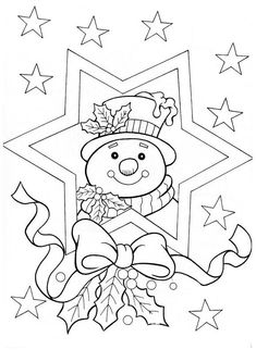 Christmas Coloring Pages - Snowman Christmas Coloring Pages, Coloring Book Pages, Coloring Sheets, Christmas Colors, Christmas Art, Family Christmas, Christmas Decorations, Christmas Ornaments, Illustration Noel