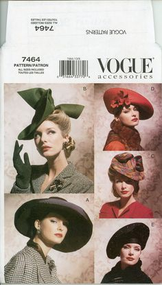 1930s 1940s Hat Pattern Vogue 7464 Vintage Wide by CynicalGirl