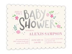 Baby Shower Invitation: Floral Charm Girl, Scallop Corners, Silverfoil
