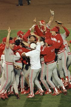 1990 Cincinnati Reds - World Series celebration - Todd Benzinger caught a pop up to first base for the last out and we swept the A's. It was awesome.